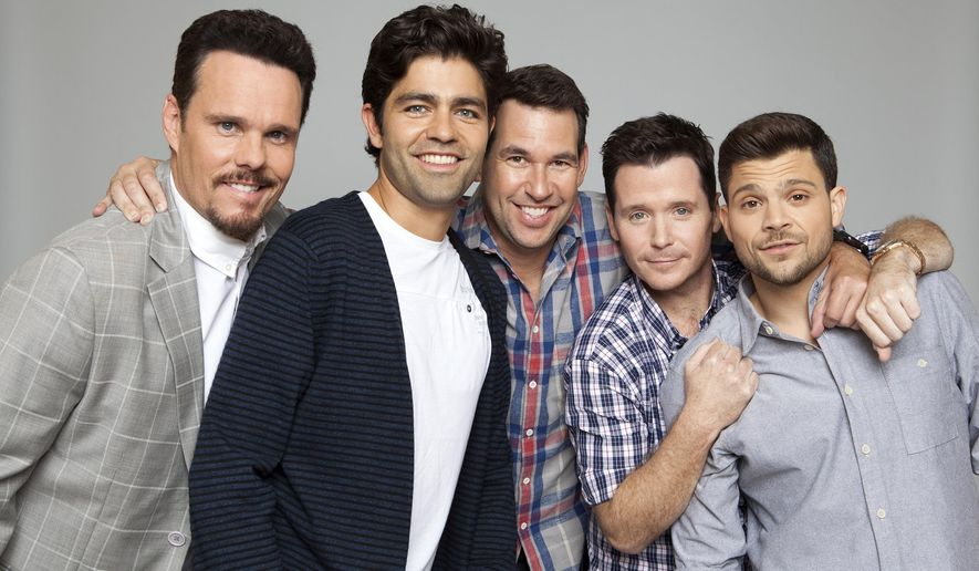 """In this Friday, May 15, 2015 photo, """"Entourage"""" cast members, from left, Kevin Dillon, Adrian Grenier, writer/producer Doug Ellin, Kevin Connolly, and Jerry Ferrara pose for a portrait at the Montage Hotel in Beverly Hills, Calif. The film, out June 3, picks up six days after the series finale.  (Photo by Rebecca Cabage/Invision/AP)"""