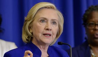 Democratic presidential candidate, former Secretary of State Hillary Rodham Clinton speaks in Columbia, S.C., in this May 27, 2015, file photo. (AP Photo/Richard Shiro, File)