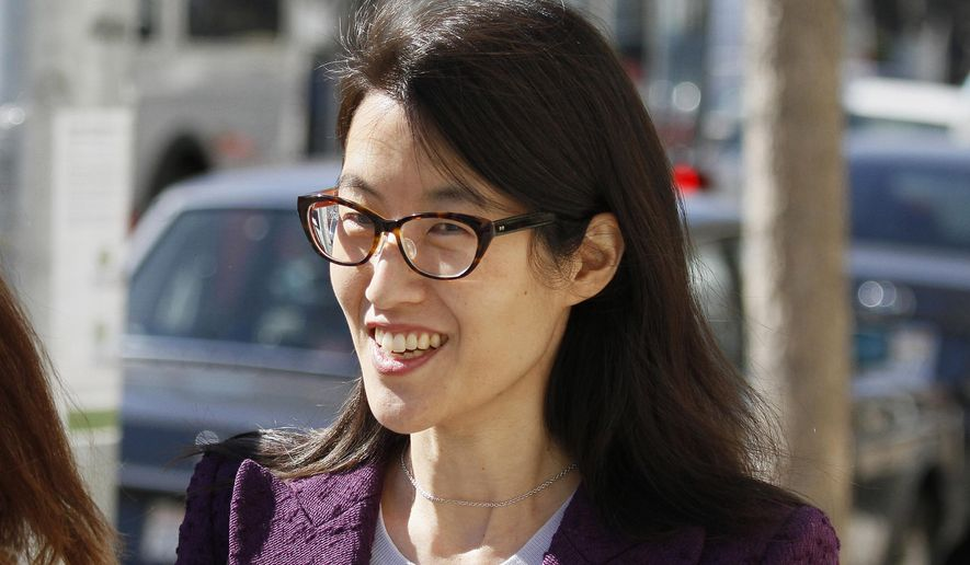 FILE - In this Feb. 24, 2015, file photo, Ellen Pao leaves the Civic Center Courthouse during a lunch break in her trial in San Francisco. The woman at the center of a high-profile gender bias lawsuit against an elite Silicon Valley venture capital firm filed an appeal on Monday, June 1, 2015, of a jury verdict against her. (AP Photo/Eric Risberg, File)