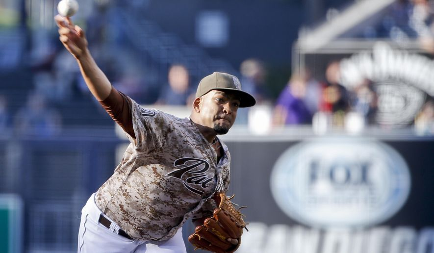 San Diego Padres starting pitcher Odrisamer Despaigne throws to a Pittsburgh Pirates batter during the first inning of a baseball game Sunday, May 31, 2015, in San Diego. (AP Photo/Lenny Ignelzi)