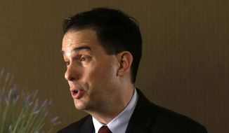 Wisconsin Gov. Scott Walker talks during an interview with The Associated Press in New Orleans in this May 18, 2015, file photo. (AP Photo/Gerald Herbert, File)