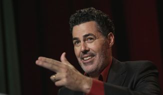 Adam Carolla speaks during and interview in New York, Thursday, May 28, 2015. (AP Photo/Richard Drew) ** FILE **