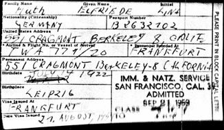 This digital image from the Immigration and Naturalization Service and the National Archives shows an immigration document for Elfriede Huth, later Elfriede Rinkel, when she was admitted to the U.S. in 1959. Rinkel admitted to being a Nazi concentration camp guard during World War II, but her past didn't keep her from collecting nearly $120,000 in American Social Security benefits after she had been deported in 2006. (Immigration and Naturalization Service and the National Archives/Ancestry.com via AP)