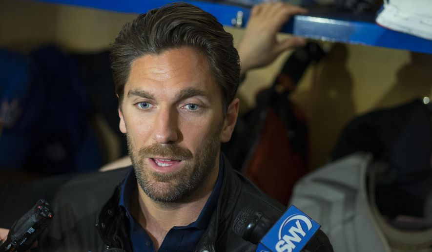 New York Rangers Henrik Lundqvist speaks to media in the locker room at the team's Westchester training facility in Greenburgh, N.Y., Monday, June 1, 2015. The Rangers came up a game short of making the Stanley Cup finals for the second straight year. (AP Photo/Craig Ruttle)
