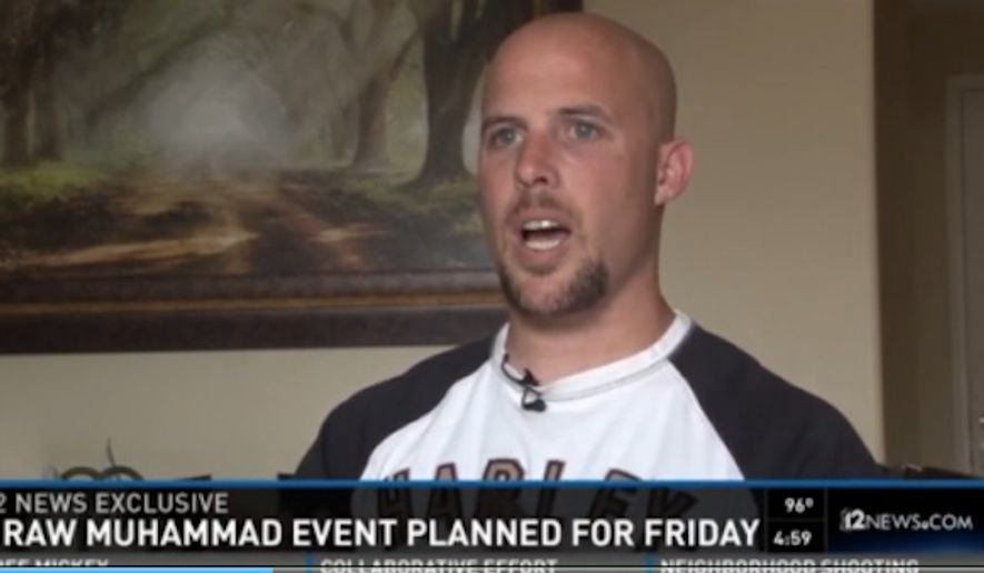 "Jon Ritzheimer, a former U.S. Marine, is planning a ""Draw Muhammad"" cartoon contest at a free speech rally planned for Friday at a Phoenix mosque. (Image: 12 News)"