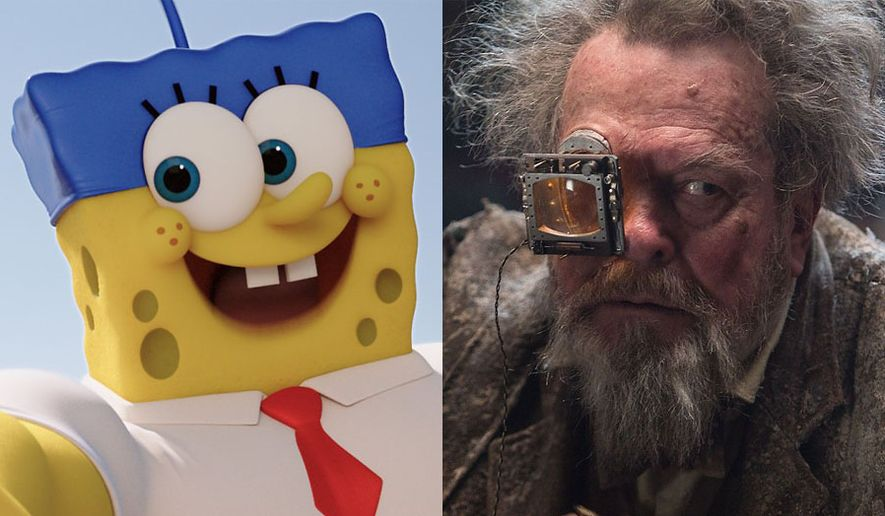SpongBob SquarePants looks like a life-size action figure in The SpongeBob Movie: Sponge Out of Water and Terry Gilliam appears in Jupiter Ascending, both now on Blu-ray. (Courtesy Paramount Home Entertainment and Warner Home Video)