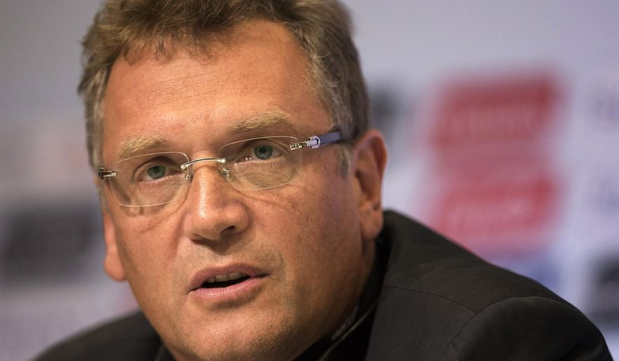 FILE - In this Thursday, Aug. 30, 2012 file photo, FIFA General Secretary Jerome Valcke speaks during a news conference in Rio de Janeiro, Brazil. FIFA secretary general Jerome Valcke was not involved in the $10 million payment mentioned in the U.S. corruption probe engulfing soccer's world governing body, FIFA said Tuesday, June 2, 2015. (AP Photo/Felipe Dana)