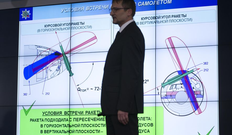 Mikhail Malyshevsky, an adviser to the director general of the state-controlled Almaz-Antei consortium, speaks in Moscow, Russia, Tuesday, June 2, 2015. The Russian maker of the Buk air defense missile system said Tuesday that it has concluded that Malaysian Airlines flight 17 was downed by an older version of the missile, which isn't in service with the Russian military but is in Ukrainian arsenals. (AP Photo/Ivan Sekretarev)