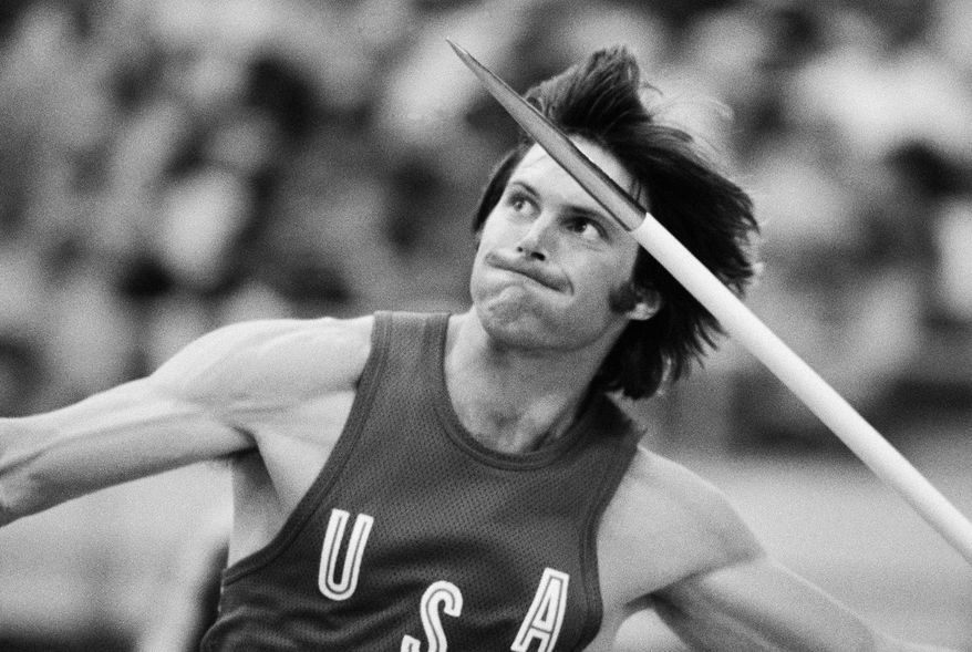 FILE  - In this July 30, 1976, file photo, Bruce Jenner, of the United States, throws the the javelin during the decathlon competition at the Olympics in Montreal, Canada. Mr. Jenner made his debut as a transgender woman on the cover for the July 2015 issue of Vanity Fair.  (AP Photo/File)