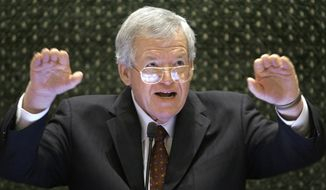 FILE - In this March 5, 2008, file photo, former U.S. House Speaker Dennis Hastert speaks to lawmakers on the Illinois House of Representatives floor at the state Capitol in Springfield, Ill. A federal judge on Tuesday delayed former U.S. House Speaker Dennis Hastert's first court appearance until June 9 following his indictment in Chicago. The Illinois Republican was scheduled to be arraigned Thursday, but the hearing has now been pushed back. The change was made without explanation in a one-sentence court filing by U.S. District Judge Thomas M. Durkin's clerk. (AP Photo/Seth Perlman, File)