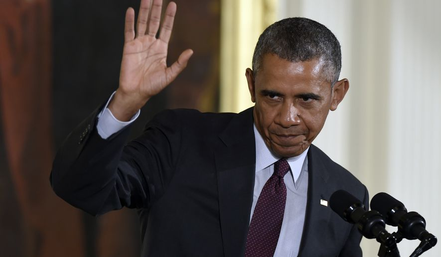 President Obama waves in the East Room of the White House in Washington, Tuesday, June 2, 2015. (Associated Press) ** FILE **