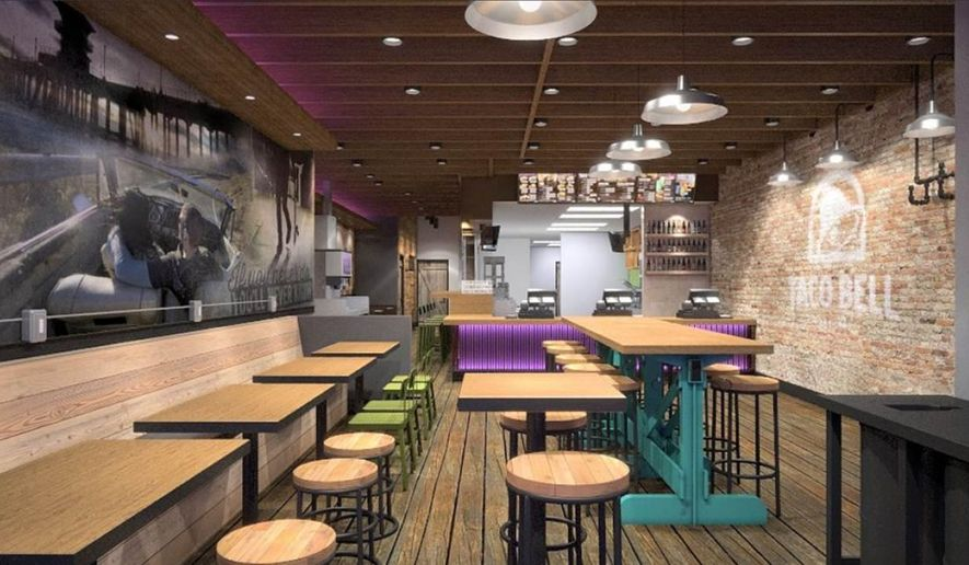 "This Artist's rendering provided by Taco Bell Corp. shows the design of a new Taco Bell restaurant that serves alcohol in the Wicker Park neighborhood of Chicago. Taco Bell says it will serve beer, wine and ""mixed alcohol freezes"" at the new location, which will open this summer. (Taco Bell Corp. via AP)"
