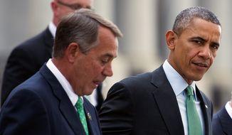 President Obama and House Speaker John Boehner of Ohio. (Associated Press) ** FILE **