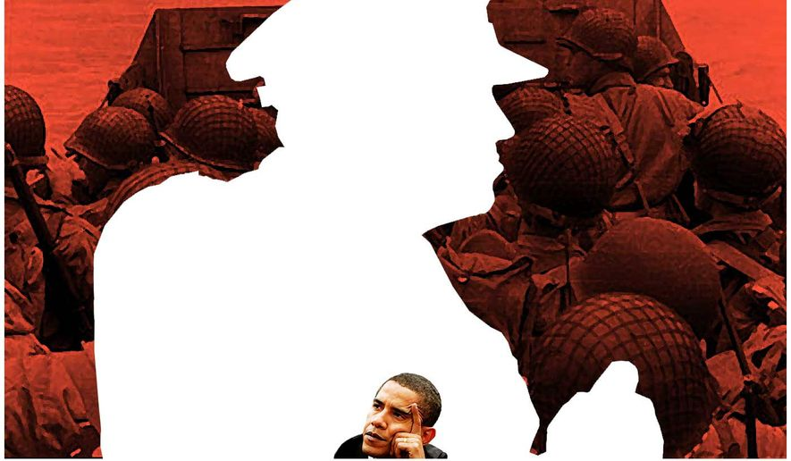 Illustration on Obama's shortcomings as Commander-in-Chief by Alexander Hunter/The Washington Times