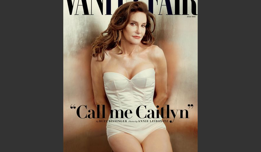 This file photo taken by Annie Leibovitz exclusively for Vanity Fair shows the cover of the magazine's July 2015 issue featuring Bruce Jenner debuting as a transgender woman named Caitlyn Jenner. Jenner made her public debut on the cover of Vanity Fair, but legal requirements await her before she can officially leave Bruce Jenner behind.  (Annie Leibovitz/Vanity Fair via AP, File)