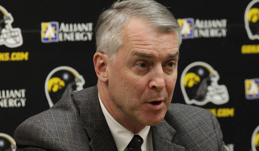 FILE - In this Dec. 14, 2010, file photo, Iowa athletic director Gary Barta speaks during a news conference in Iowa City, Iowa. The U.S. Department of Education is launching an investigation into the University of Iowa's handling of gender discrimination claims against Barta. In a letter obtained by The Associated Press, the department's Office for Civil Rights notified the school of the investigation last week and requested numerous documents. (AP Photo/Charlie Neibergall, File)