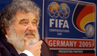 FILE - In this Feb. 14, 2005 file photo, Confederation of North, Central American and Caribbean Association Football (CONCACAF) general secretary Chuck Blazer attends a press conference in Frankfurt, Germany. Blazer, a former FIFA executive committee member, told a U.S. federal judge he and others on the governing body's ruling panel agreed to receive bribes as part of the vote that picked South Africa to host the 2010 World Cup, according to a transcript of the 2013 hearing in U.S. District Court in Brooklyn unsealed by prosecutors Wednesday, June 3, 2015. (AP Photo/Bernd Kammerer, File)
