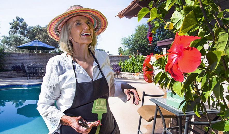 In this June 2, 2015 photo, former Arizona Gov. Jan Brewer waters the plants in the backyard of her home in Glendale Ariz. Brewer has said that gardening was always a welcome escape from political life. Brewer will be getting back in public affairs, as a consultant for the national law firm Ballard Spahr, to work with the firm's government affairs team. The Arizona Republic reports that Brewer will help clients with public policy issues at the city, state and federal levels.(Tom Tingle/The Arizona Republic via AP)