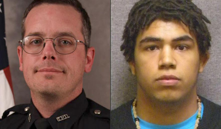 FILE - This combination made with file photos provided by the Madison, Wis. police department and Wisconsin Department of Corrections shows Madison Police officer Matt Kenny, left, and Tony Robinson, a biracial man who was killed by the officer. Kenny has been cleared of wrongdoing in an internal investigation of his fatal shooting of the unarmed 19-year-old. (Madison Police Department/Wisconsin Department of Corrections via AP)
