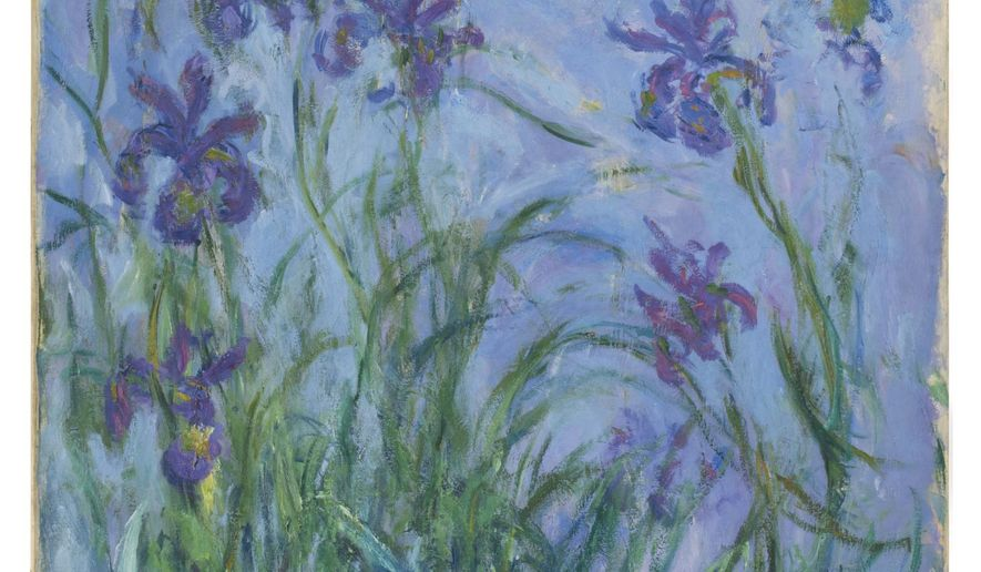 This undated photo released from Christie's Auction House London, shows the Claude Monet artwork entitled Iris Mauves 1914-1917 oil on canvas from a private European collection which will be auctioned at Christie's during their Impressionist and Modern Art Evening Sale on June 23, 2015. Christie's auction house is offering works by Claude Monet, Rene Magritte, Joan Miro, Marc Chagall and Pablo Picasso this month amid a voracious global appetite for impressionist and modern art. Iris Mauves by Monet has an estimated sale value of 6 million pounds to 9 million pounds (US dlrs 9.1 million to 13.7 million). (Christie's Images Limited 2015 via AP) MANDATORY CREDIT  EDITORIAL USE ONLY - NO SALES