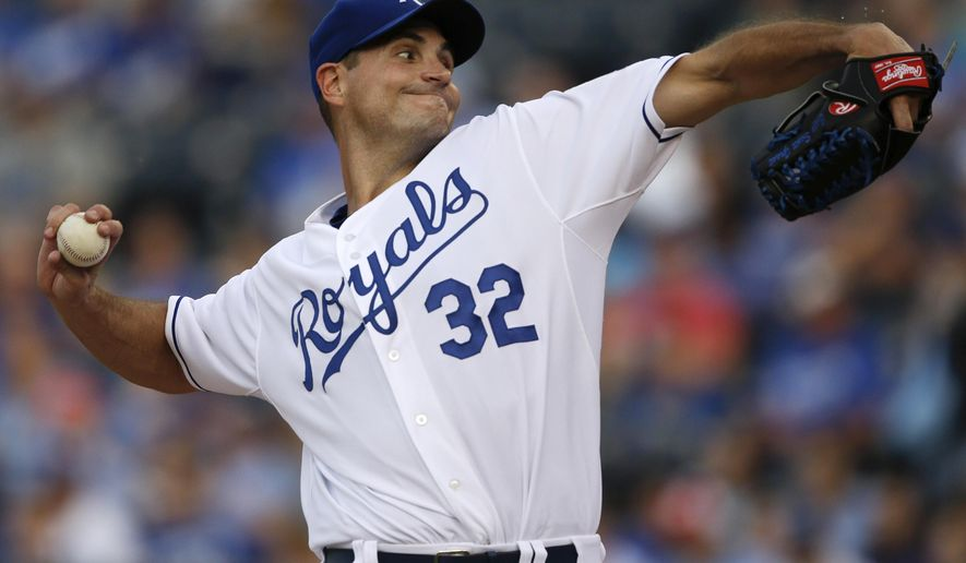 Kansas City Royals starting pitcher Chris Young delivers to a Cleveland Indians batter during the first inning of a baseball game at Kauffman Stadium in Kansas City, Mo., Thursday, June 4, 2015. (AP Photo/Orlin Wagner)