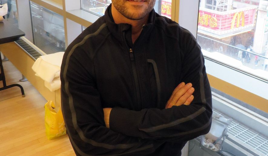 """In this June 2, 2015 image, choreographer Joshua Bergasse appears at a rehearsal studio in New York. Bergasse who choreographed """"Gigi,"""" and """"On the Town,"""" is nominated for a Tony for best choreographer. The Tonys will be handed out on Sunday at Radio City Music Hall in New York. Kristin Chenoweth and Alan Cumming will host. (AP Photo/Frazier Moore)"""