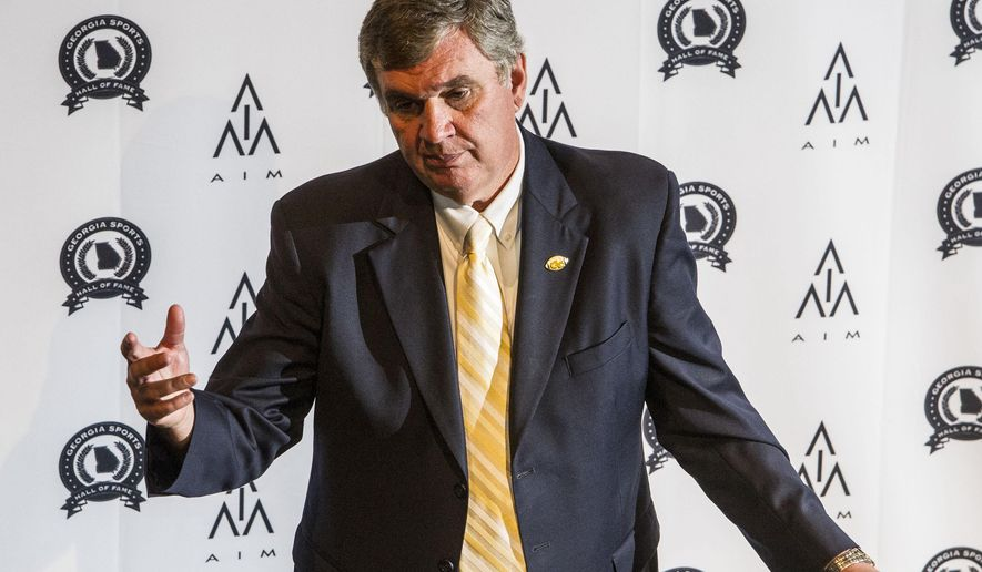 Georgia Tech football coach Paul Johnson addresses the media during the annual Pigskin Preview, Tuesday, June 2, 2015, at the Georgia Sports Hall of Fame in Macon, Ga. (Woody Marshall/The Macon Telegraph via AP)
