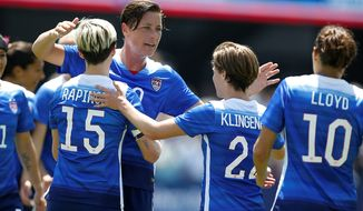 """The U.S.'s Abby Wambach said the second-place finish in the 2011 World Cup put the team """"in a position where people were talking about us again."""" (Associated Press)"""