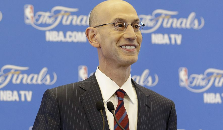 NBA Commissioner Adam Silver speaks at a news conference before Game 1 of basketball's NBA Finals between the Golden State Warriors and the Cleveland Cavaliers in Oakland, Calif., Thursday, June 4, 2015. (AP Photo/Eric Risberg)