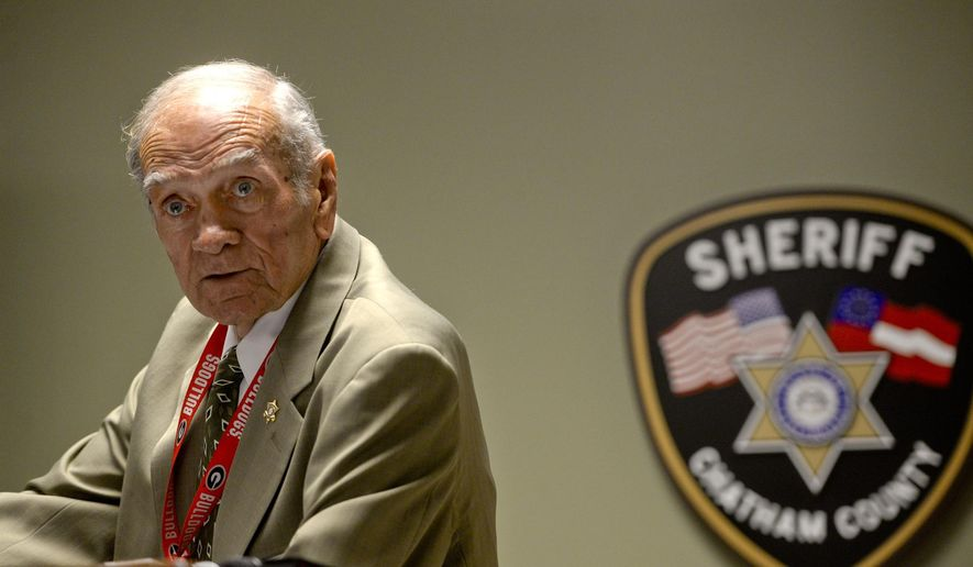 Chatham County Sheriff Al St Lawrence addresses media during a press conference at the Chatham Sheriff's Office on Thursday, June 4, 2015. The press conference was on the use of tasers by officers on inmates in the jail.  (Ian Maule/Savannah Morning News via AP)