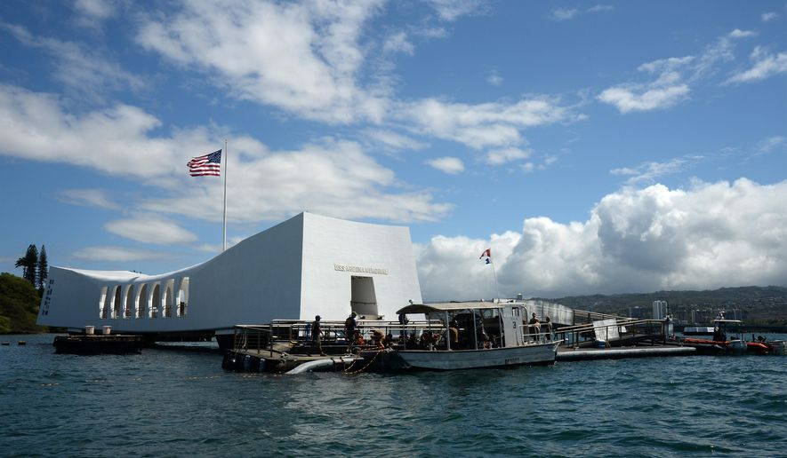 In this Wednesday, June 3, 2015, photo provided by the U.S. Navy, sailors work to repair the floating dock next to the USS Arizona Memorial in Pearl Harbor, Hawaii.  Repairs to the damaged dock have been taking longer than expected, which will delay the reopening of the Pearl Harbor landmark at least a day, the navy and National Park Service said Wednesday.  (Mass Communication Specialist 2nd Class Laurie Dexter/U.S. Navy via AP)