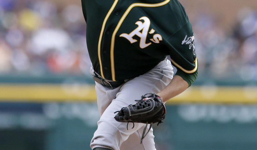 Oakland Athletics' Jesse Hahn pitches against the Detroit Tigers during the second inning of a baseball game at Comerica Park Thursday, June 4, 2015, in Detroit. (AP Photo/Duane Burleson)