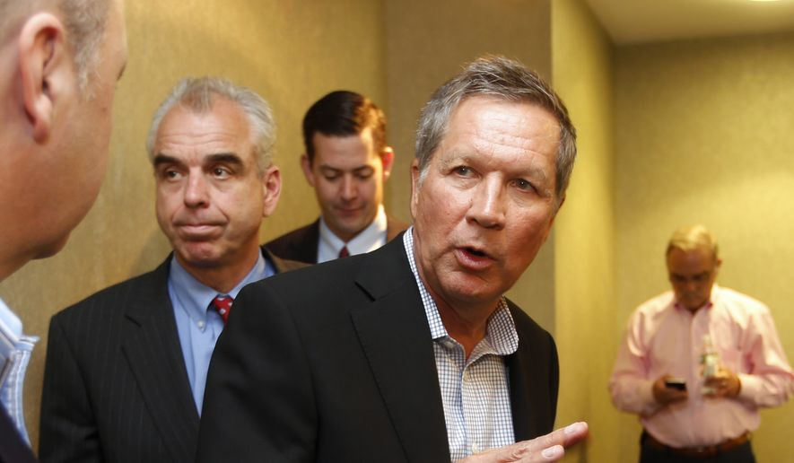 Ohio Gov. John Kasich speaks to area business leaders following a luncheon on June 4, 2015, in Portsmouth, N.H. Kasich is considering a run for the Republican nomination for president. (Associated Press)