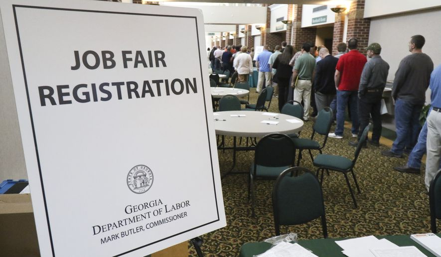 In this April 2, 2015, photo, a crowd gathers for a huge 15-county job fair at The Colonnade in Ringgold, Ga. (Dan Henry/Chattanooga Times Free Press via AP) ** FILE **