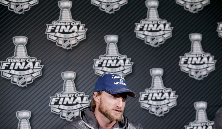 Tampa Bay Lightning center Steven Stamkos speaks during a news conference at the NHL hockey Stanley Cup Final in Tampa, Fla., Thursday, June 4, 2015. The Chicago Blackhawks defeated the Lightning 2-1 in Game 1 Wednesday night. Game 2 is scheduled for Saturday. (AP Photo/Chris Carlson)