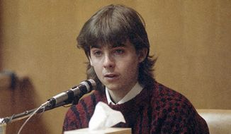 "In this March 13, 1991, file photo, William ""Billy"" Flynn, testifies on his 17th birthday in court in Exeter, N.H., how he shot Gregg Smart in the head and killed him in Derry, N.H., in 1990. Flynn was convicted and sent to prison for killing Gregg Smart, the husband of his lover, Pamela Smart. Flynn was released from prison in Maine on parole Thursday, June 4, 2015 after serving nearly 25 years. (AP Photo/Jim Cole, File)"