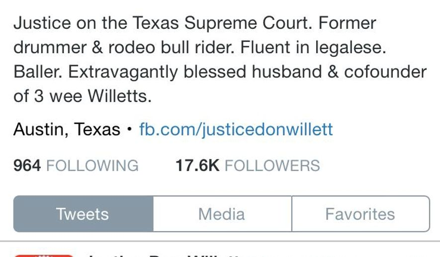 """This image courtesy of Judge Don Willett, shows Willett's Twitter homepage. Texas has become the first state to name an official """"Tweeter Laureate,"""" and its recipient is not a star quarterback, or pop star but a state Supreme Court justice. The Texas House recognized Republican Willett as a """"lively and engaging presence on Twitter."""" Despite a heavy workload on the state's highest civil court, Willett Tweets at least 10 times daily. (Don Willett, via AP)"""