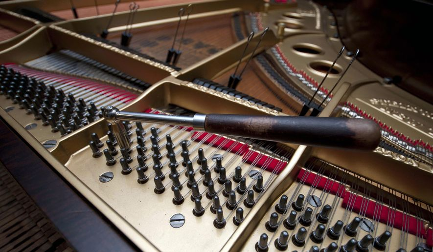 In this May 27, 2015, photo, a tool used by piano tuner Roy West, 81, is shown at the Kluttz Piano Co. in Salisbury, N.C.  (Jon C. Lakey/The Salisbury Post via AP)