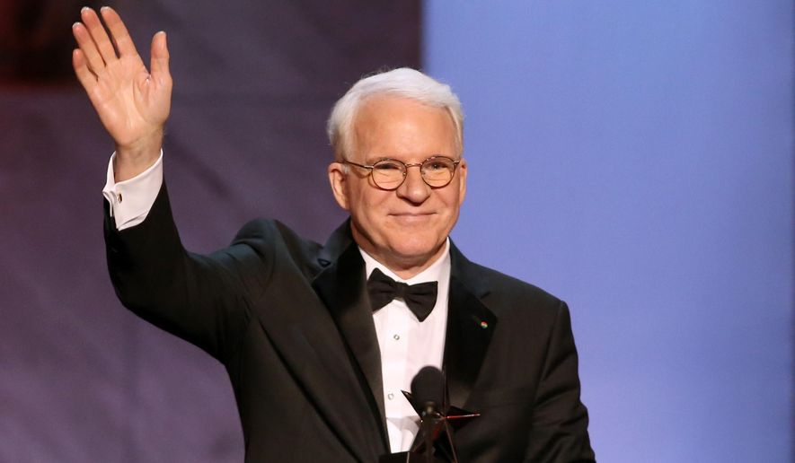 Honoree Steve Martin accepts his award at the 43rd AFI Lifetime Achievement Award Tribute Gala at the Dolby Theatre on Thursday, June 4, 2015, in Los Angeles. (Photo by Paul A. Hebert/Invision/AP)
