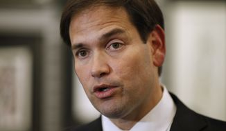 Republican presidential candidate Sen. Marco Rubio, R-Fla., speaks in Las Vegas, May 28, 2015. (Associated Press) ** FILE **