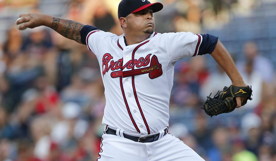 Atlanta Braves starting pitcher Williams Perez (61) works in the first inning of baseball game against the Pittsburgh Pirates  Friday, June 5, 2015, in Atlanta.  (AP Photo/John Bazemore)