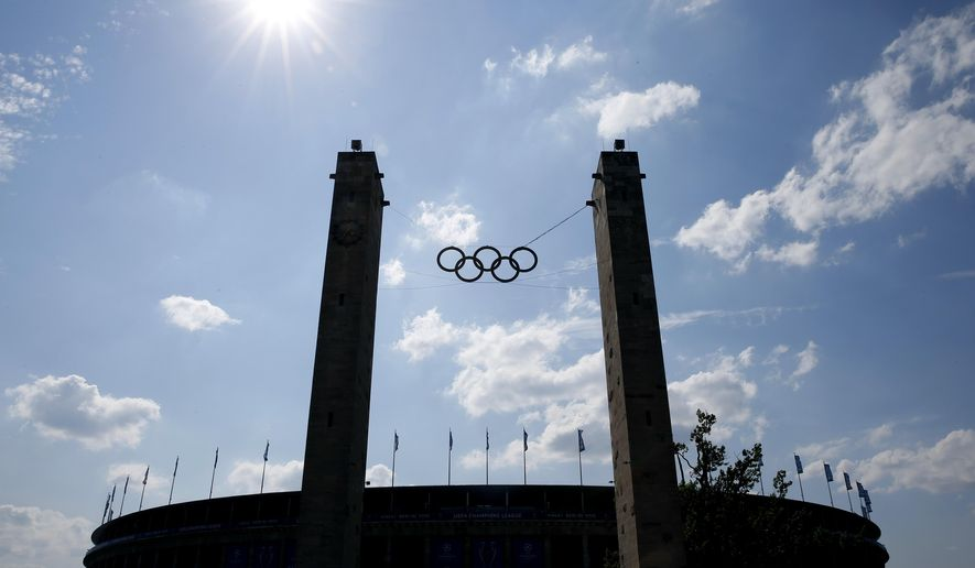 A general view of the Olympic stadium in Berlin ahead of the Champions League final soccer match between Juventus Turin and FC Barcelona Saturday, June 6, 2015. (AP Photo/Luca Bruno)