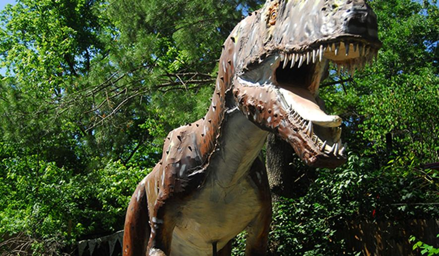 This photo taken on Aug. 22, 2015, an Allosaurus replica greets visitors at Backyards Terrors Dinosaur Park, in Bluff City, Tenn. (Jessica Fuller/The Johnson City Press via AP)