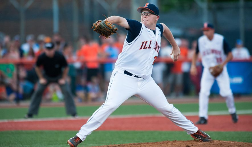 Illinois pitcher Kevin Duchene throws against Vanderbilt during the third inning of an NCAA college baseball tournament super regional game, Saturday, June 6, 2015, in Champaign, Ill. (AP Photo/Bradley Leeb)