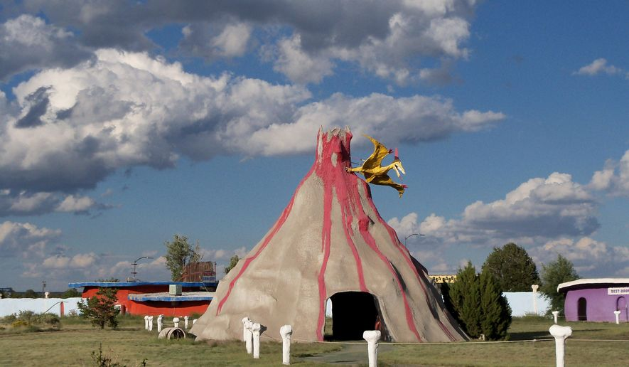 RETRANSMITTED FOR BETTER QUALITY - This undated photo provided by Holly Hulen shows a makeshift volcano at the Flintstones Bedrock City theme park in Williams, Ariz. The owner of the park designed around the Hanna-Barbera cartoon said Friday she is selling the property for $2 million. (AP Photo/Courtesy of Holly Hulen)