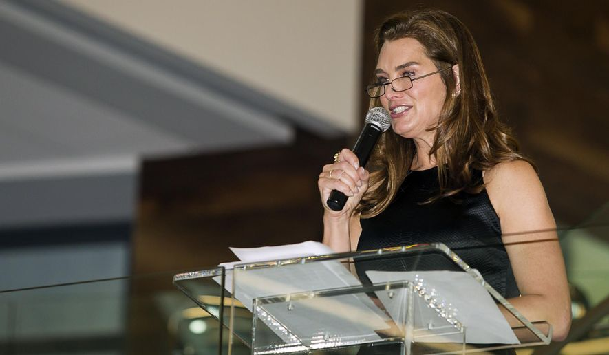Brooke Shields speaks at the grand opening of the new La-Z-Boy world headquarters in Monroe, Mi., Friday, June 5, 2015. (Ed Keller/The Monroe Evening News via AP)