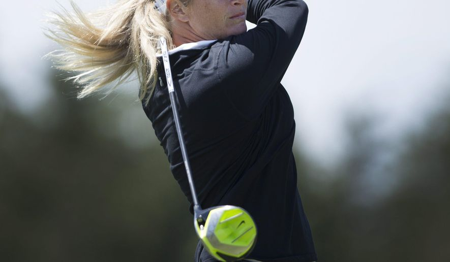 Suzann Pettersen, of Norway, hits off the sixth tee during the third round of the 2015 Manulife LPGA Classic, Saturday, June 6, 2015 in Cambridge, Ontario. (Peter Power/The Canadian Press via AP) MANDATORY CREDIT