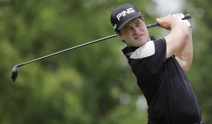 David Lingmerth, of Sweden, tees off on the third hole during the final round of the Memorial golf tournament, Sunday, June 7, 2015, in Dublin, Ohio. (AP Photo/Darron Cummings)