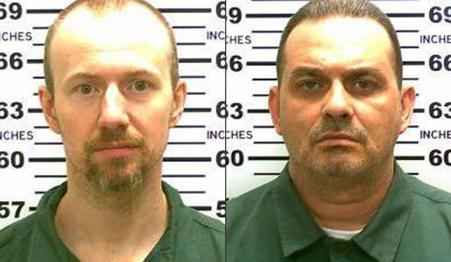 This combination made from photos released by the New York State Police shows inmates David Sweat, left, and Richard Matt. Authorities on Saturday, June 6, 2015 said Sweat, 34, and Matt, 48, both convicted murderers, escaped from the Clinton Correctional Facility in Dannemora, N.Y. (New York State Police via AP)