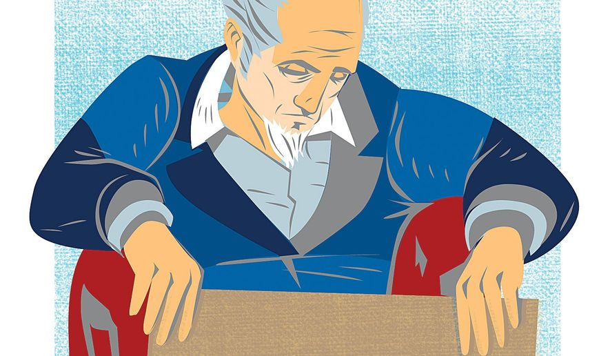 Homeless Uncle Sam Illustration by Linas Garsys/The Washington Times